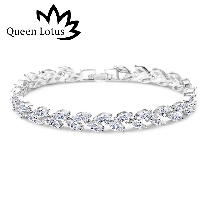 Queen Lotus 2018 Fashion High Quality Micro-mosaic Cubic Zirconia Bracelets For Women Korean Style Leafs Luxury Bracelet Gift