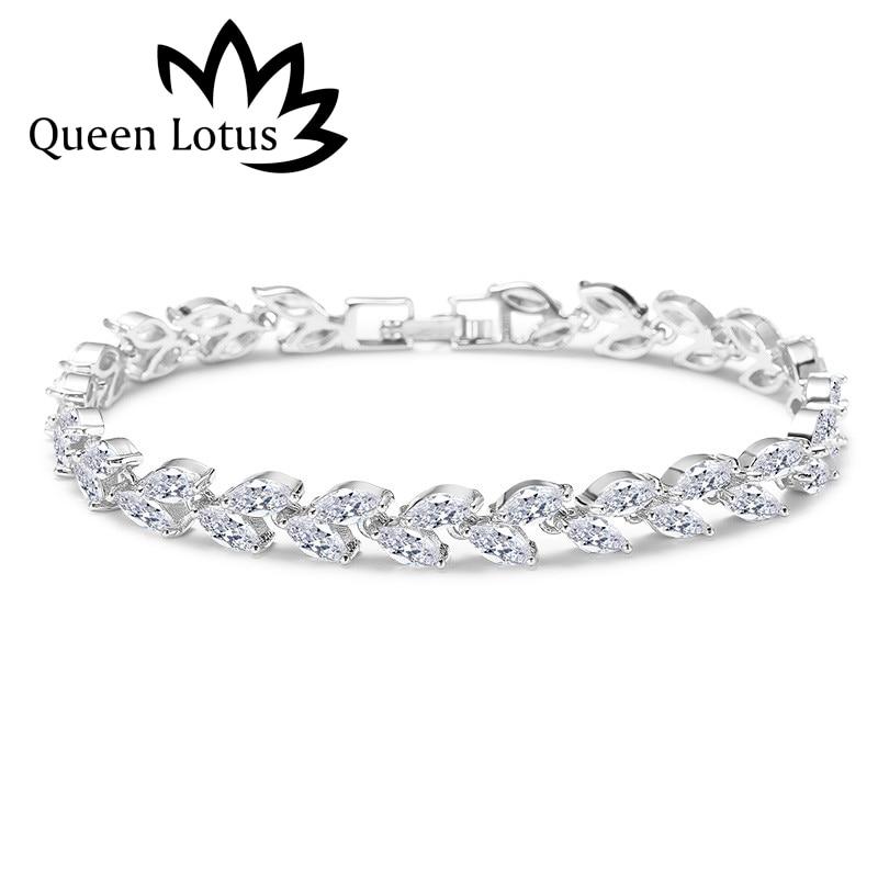 Queen Lotus 2018 Fashion High Quality Micro-mosaic Cubic Zirconia Bracelets For Women Korean Style Leafs Luxury Bracelet Gift