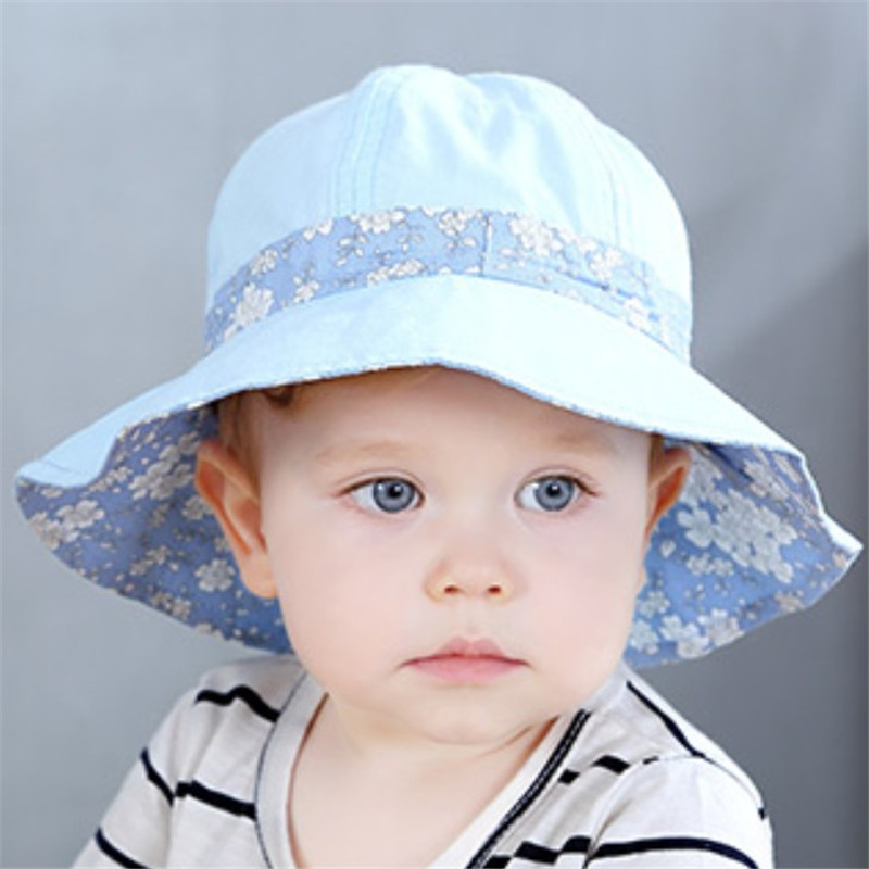 Fashion Baby Sun Hat with Flowers Summer Baby Hats Baby Girl Hat Both Side Can Wear Kids Caps for Boys Caps