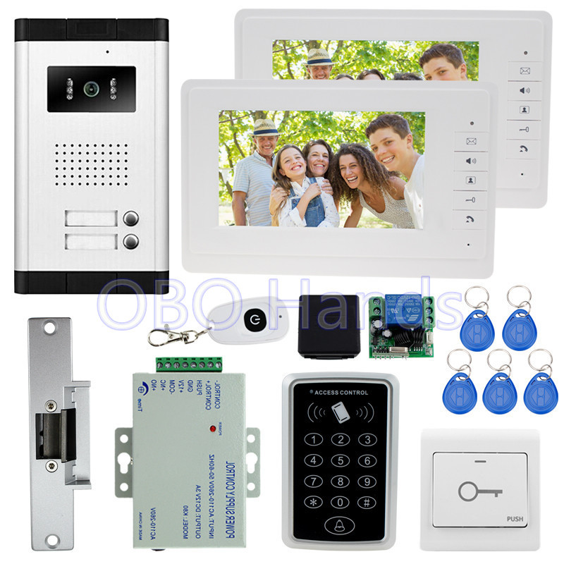 7'' wired video door phone kit set with IR camera+RFID access control keypad+keys+2 monitors+EM lock for intercom system on sale 7 wired video door phone intercom system kit set with rfid ir outdoor camera video doorbell em lock power supply low price