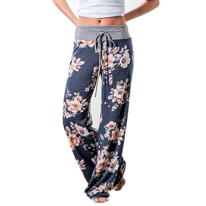 Causal Women Autumn Flower Print   Pants   2019 Drawstring   Wide     Leg     Pants   Loose Straight Trousers Long Female Plus Size Trousers