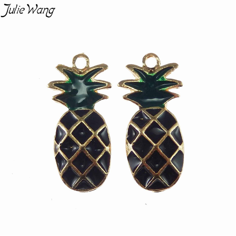 Julie Wang 5PCS Black Enamel Gold Color Base Zinc Alloy Metal Pineapple Shape Mini Pendant Charm for Handmade Jewelry Necklace