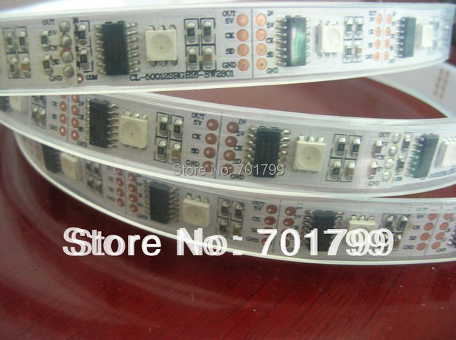 5m led digital strip,DC5V input,WS2801IC(256 scale);32pcs IC and 32pcs 5050 SMD RGB each meter;without controller