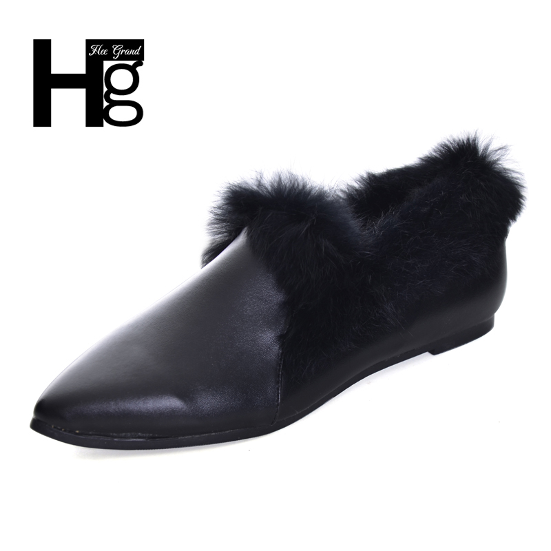 HEE GRAND Women's Shoes Winter Fashion Plush Fur Slip on Black White Lady Shoes Flats Pointed Toe Shoes Woman Size 35-39 XWD6132 2017 summer new fashion sexy lace ladies flats shoes womens pointed toe shallow flats shoes black slip on casual loafers t033109