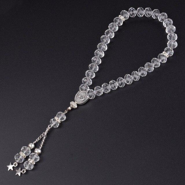 Bracelet en perles de cristal à facettes pour femmes et hommes, 8mm, 33 perles de prière, islamique, rosaire Tasbih Allah Mohammed, bijoux