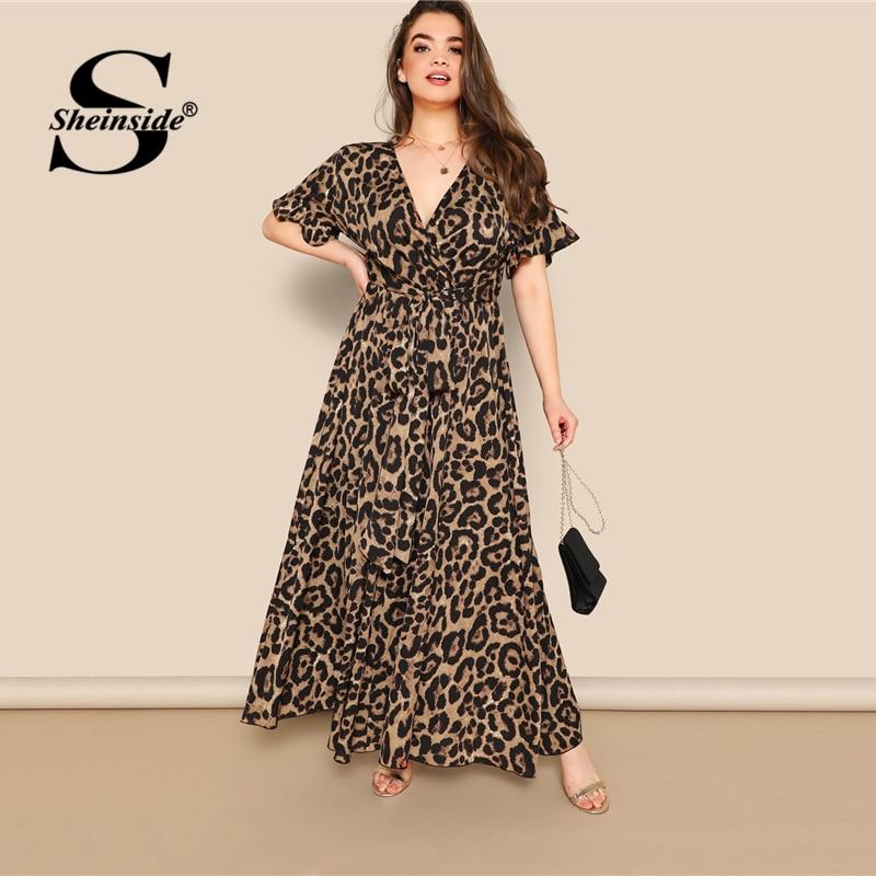 Sheinside/Вечерние платья больших размеров с v-образным вырезом, женские летние макси платья 2019, рукав-волан, женские платья с высокой талией и по...