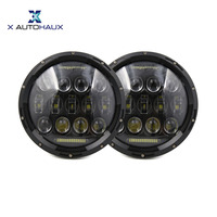 X Autohaux One Pair 7 Inch 18PCS LED 6500K Car Round Day Time Running Headlight Lights