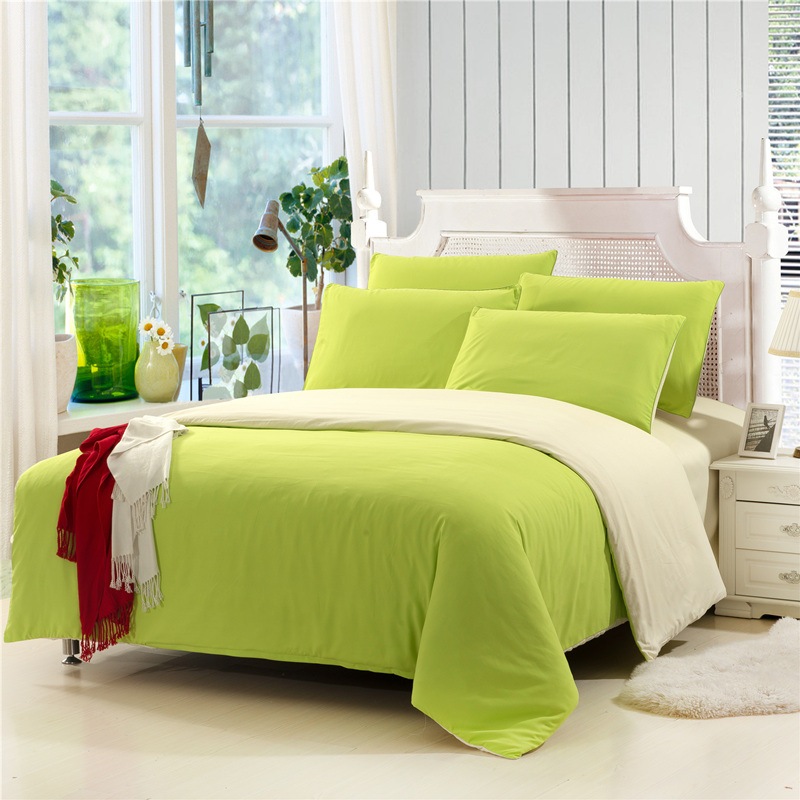 WAZIR Brushed Solid Color Simple 4pcs Bedding Set Bed Sheets Quilt Cover Pillowcase Home Textile Duvet Cover Bedroom Decor in Bedding Sets from Home Garden