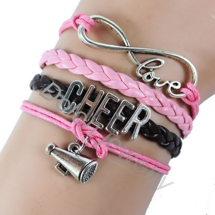 Custom Handmade Leather Cord Cheerlead Cheer Bracelet With Silver Infinity Love Charm Gift For Women Sports Lover In Bracelets From Jewelry