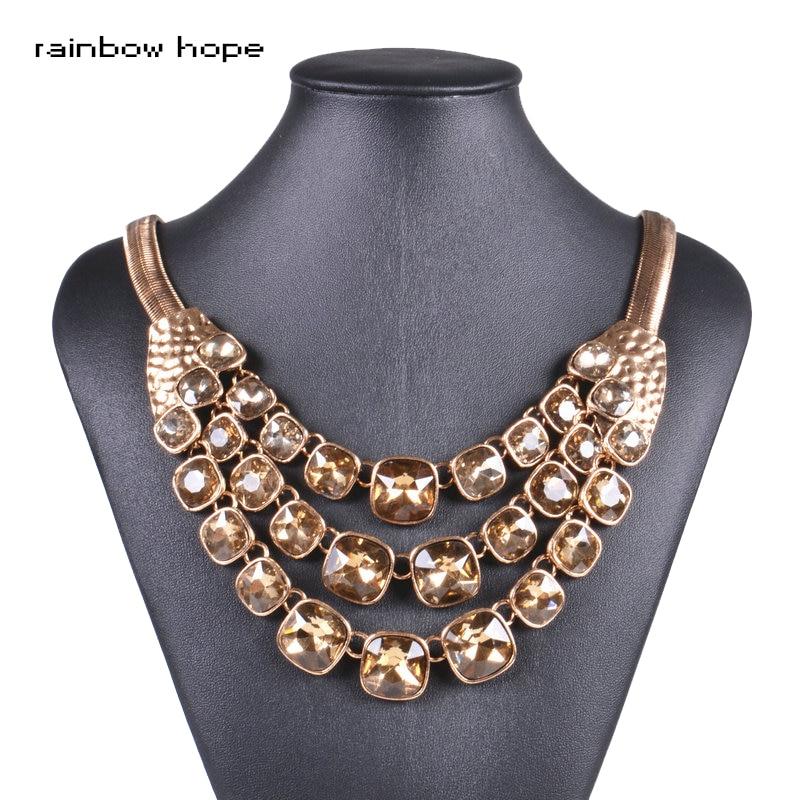 Pernyataan gaya vintage big kristal pendant wanita neckalces Antique warna Emas rantai choker kalung untuk wanita fashion ...