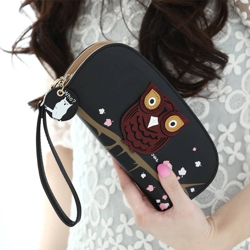 New Fashion Owl Phone Wallet Female Wristlet Applique Cute Luxury Brand Famous Designer Wallet Women Purse Cartoon Women Wallets new fashion luxury brand women wallets owl leather wallet female cartoon coin purse wallet women animal wristlet money bag small