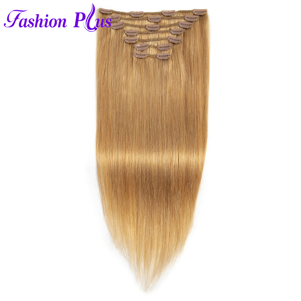 Fashion Plus Clip In Human Hair Extensions 120g Machine Made Remy Hair Full Head 7PCS Set Clips In Human Hair Clip In Extension
