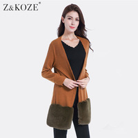 Z&KOZE Women Long Cardigan 2017 Autumn Knitted Sweater Casual Faux Fur Pockets Knitting Female Casual Long Outer Pull Plus Size