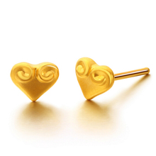Pure 999 24K Yellow gold Heart Stud Earrings 0.8g