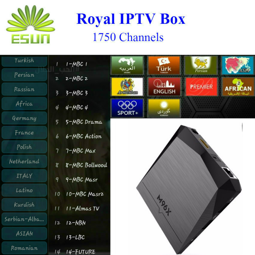 M96X With 1 Year RoyalTV/ESUNTV/LuckyTV Configured Arabic Europe IPTV Android 6.0 2/8G S905X Quad Core 4K Ultra Box Set Top Box good year ultra grip 8 купить украина
