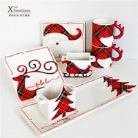 Happy Christmas Dinnerware Set Creative Reindeer Breakfast Milk Cup Home Dining Ceramic Dish Christmas Tree Fish Plate