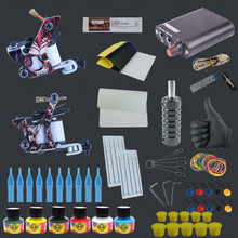 Hot Sale Professional Complete Tattoo Kit Two 8 Wrap Coils Tattoo Machine Guns Pigment Induction Tattoo