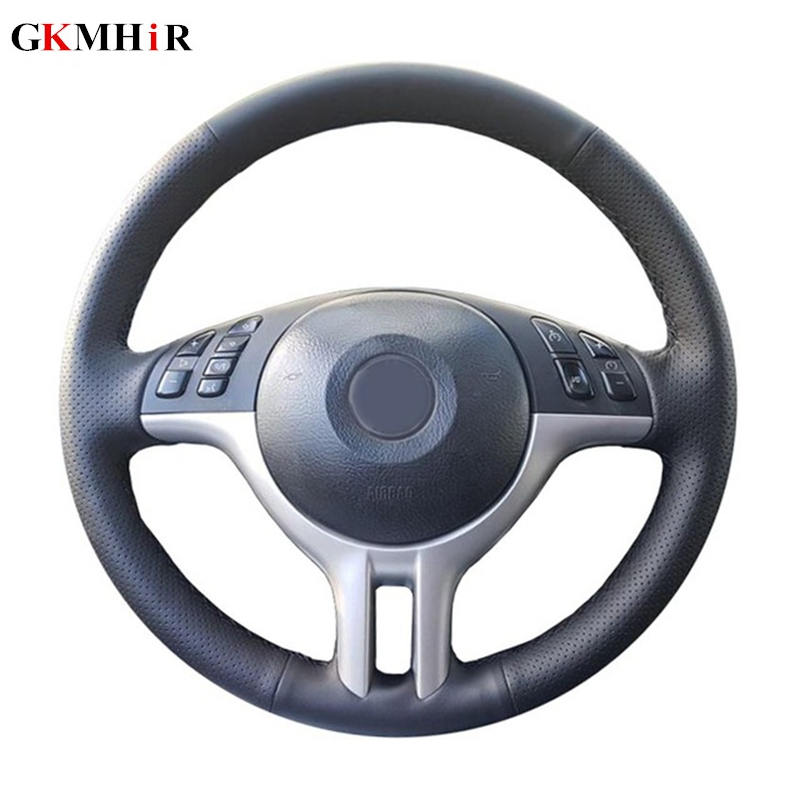 GKMHiR DIY Customized Hand-Stitched Black Artificial Leather Car Steering Wheel Cover For BMW E39 E46 325i E53 X5 X3