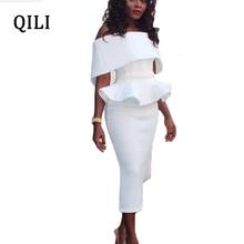 купить QILI Sexy Off Shoulder Ruffles Dress White Black Blue Red Pink Butterfly Sleeve Women Pencil Dresses Elegant Lady Bodycon Dress по цене 806.32 рублей