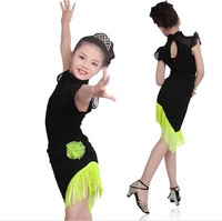 New Arrival Latin Dance Dress Performing Latin Dress Children Skirt Short Sleeved Suit Girls Dance Costumes