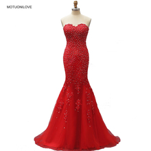 Real Image Red Mermaid Long Evening Formal Dresses Gown Strapless Lace Appliqued Beaded BlingBling Party Prom Bride