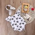 Bebé ropa de las muchachas Del Niño Recién Nacido Mameluco Del Mono de Los Niños Ropa de Bebé Niñas Ciervos + Diadema Ropa Sunsuit