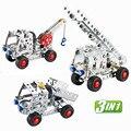 3 en 1 DIY tornillo de metal montar truck crane building block decoración de juguete de regalo educativo