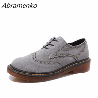 Abramenko Brogue Oxford Shoes Women Flats Women Genuine Leather Shoes sapatos femininos sapatilhas zapatos mujer Plus Size 43