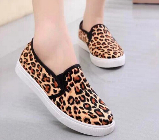 NEW 2015 vintage women shoes fashion outdoor canvas shoe woman leopard grain tenis moccasins women sport shoes loafers