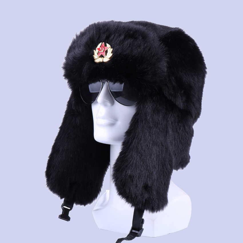 الشتاء منفذ قبعة للجنسين الروسية Ushanka مع شارة أبي إيرفلاب القبعات فرو الأرنب الصناعي الجندي الجيش الطيار الصياد الثلوج قبعة تزلج