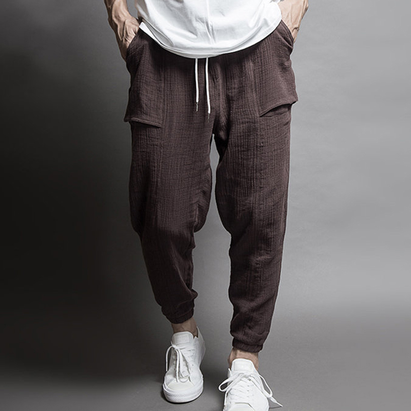 High Quality Mens Hip Hop Cotton Linen Pants Drawstring Waist Pocket Loose Pencil Pants Casual Harem Sweatpants Trousers(China)