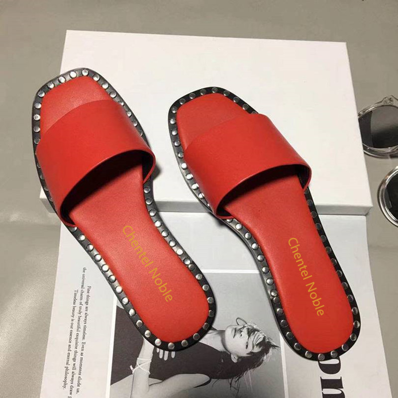 Shoes Beach Studded Hot Us75 Rivet chaussures Soft Selling White Women's Femme For Leather 49Off Black Ete 2018 Low 0 Slides Comfortable In rCdexBo
