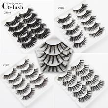 Colash 5 Pairs Mink Hair False Eyelashes 18mm Long Lashes Extension Thick Wispy Fluffy Handmade Eye Makeup Tools