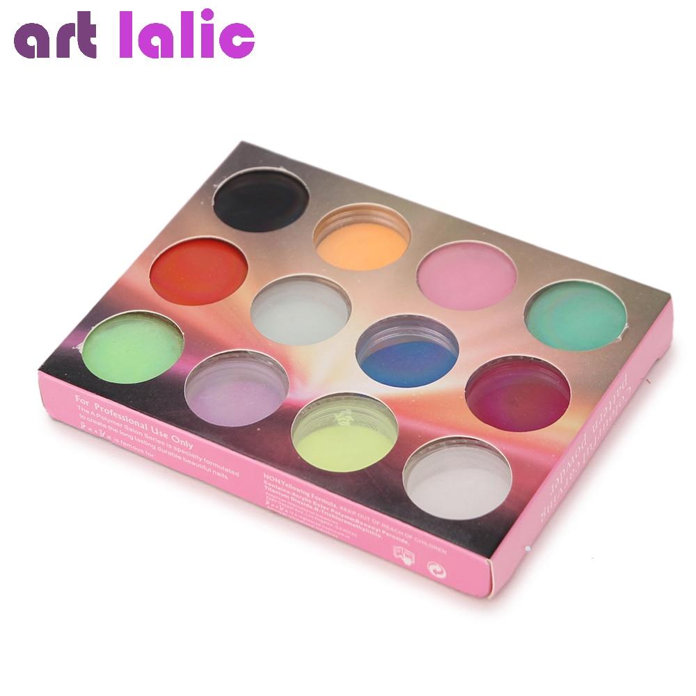 Nail Art 12 Farben Acryl Pulver Staub UV Gel Design 3D Tipps Builder - Nagel Kunst - Foto 3