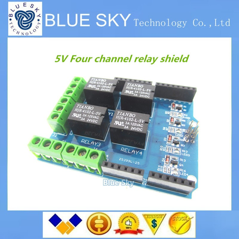 5pcs lot 4 channel 5v relay shield module Four channel relay control font b board b