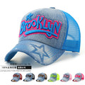Brand New Adult Summer Outdoor Jean Mesh Trucker Hats Men and Women Brooklyn 3D Embroidery Denim Wash old Baseball Caps