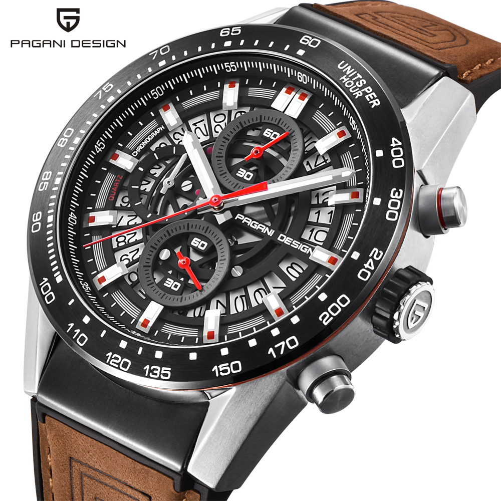 PAGANI DESIGN Fashion Skeleton Sport Chronograph Watch Leather Strap Quartz Mens Watches Top Brand Luxury Waterproof
