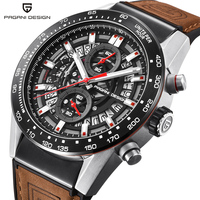 PAGANI DESIGN Fashion Skeleton Sport Chronograph Watch Leather Strap Quartz Mens Watches Top Brand Luxury Waterproof Clock