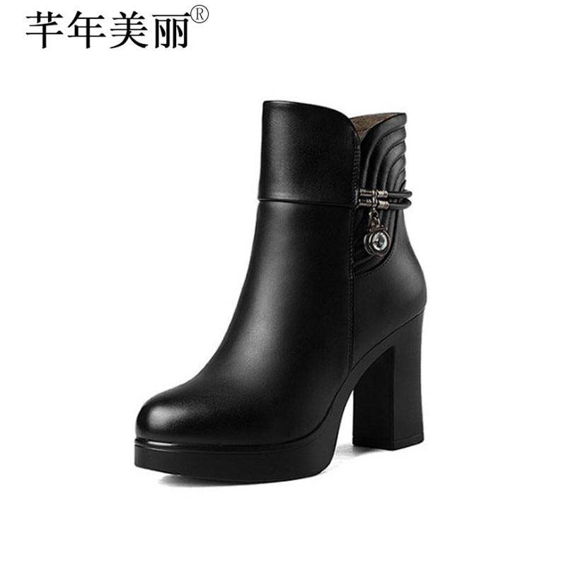 где купить Women's Fall&Winter Microfiber Leather Ankle Boots Faux Fur Shoe Black Working and Career Winter Boots Size 34-40 WB001 по лучшей цене