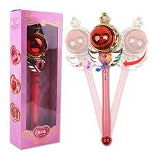 New Girl Toys Anime Cosplay Sailor Moon Wand Musical Magic Wand Musical Spiral Heart Moon Rod Kids Toys Henshin Rod Glow Stick original bandai sailor moon crystal 20th anniversary gashapon sailor moon wand charm part 3 henshin rod