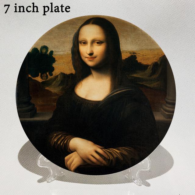 Famoso Da Vinci de aceite pintura decorativa placa creativo Mona Lisa de cerámica de hotel/de la pared/Decoración de escritorio de amigo regalo