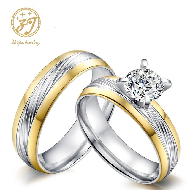 Zhijia Gold Color Wedding Bands Ring For Women Men Jewelry 316l