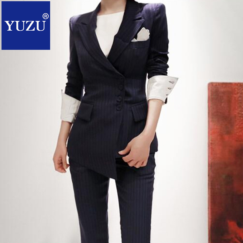 6fbeaf1448 Suit Women Striped blazer set korean Dark Blue Double Breasted formal  business Pants suits ladies office work wear clothing-in Pant Suits from  Women s ...