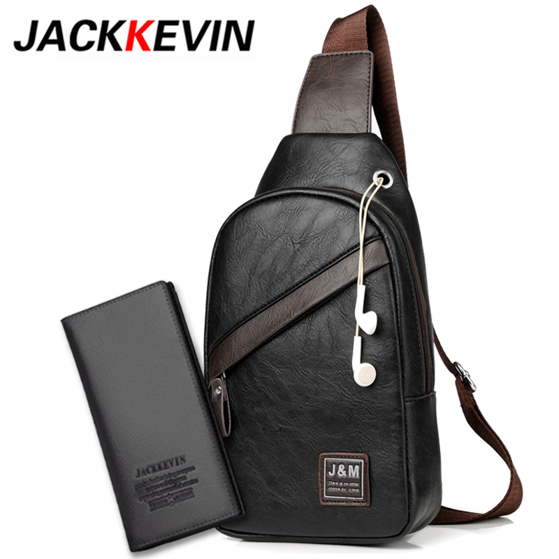 JackKevin Famous Brand Waterproof Zipper Open Leather Mens Chest Bags Fashion Shoulder Travel Crossbody Bag Man