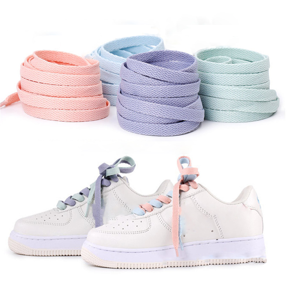 1pair 120/130/140/160CM Shoelaces Pink Sport Travel Shoelace Classic Jelly Color Flat Polyester Shoe Laces Girls Blue Shoelace