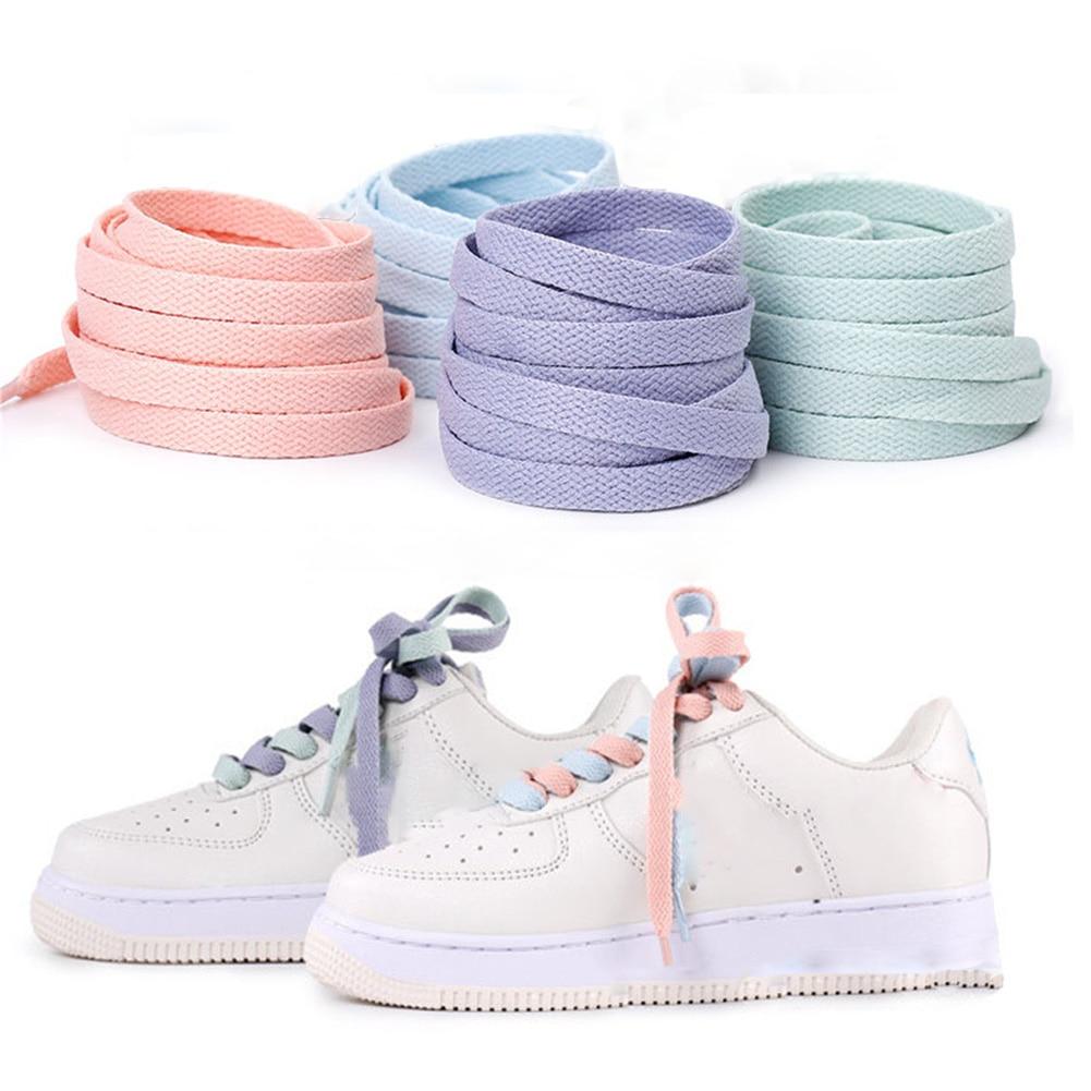 1pair 120/130/140/160CM Shoelaces Pink Sport Travel Shoelace Classic Jelly Color Flat Polyester Shoe Laces Girls Blue Shoelace