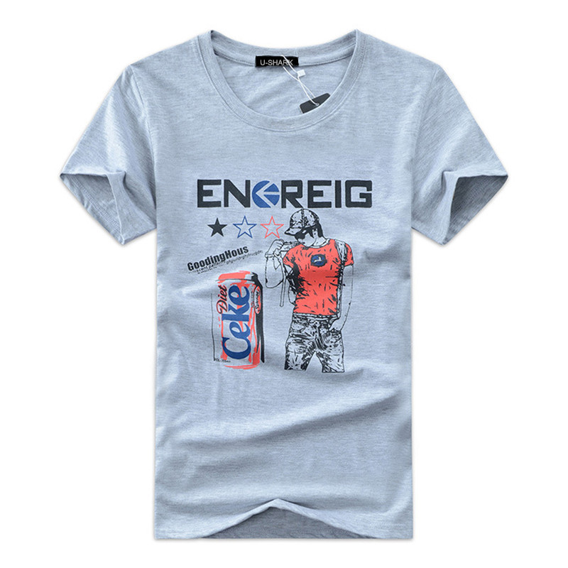 Summer Clothing S 5XL Men s Short Sleeved T shirt male 95 Cotton Print T shirts