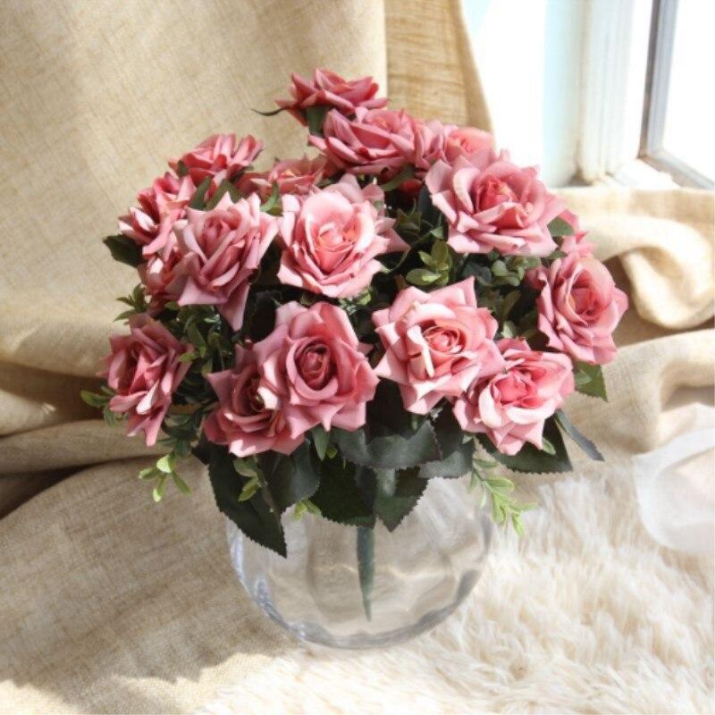 Artificial Flowers Wedding Decoration 7 Heads Bridal Rose Flower ...