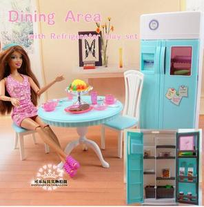 Image 2 - Free Shipping Girl birthday gift Play Set toys doll dinning area with refrigerator play set doll Furniture for barbie doll
