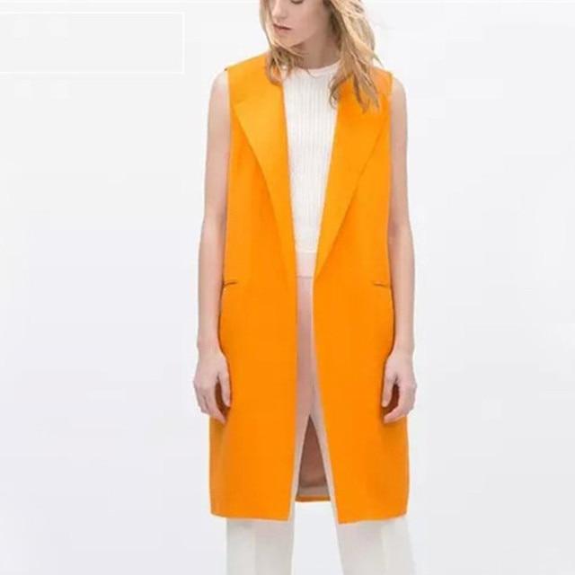 plus orange dress vests